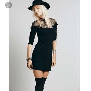 Free people black lace turtle neck dress!